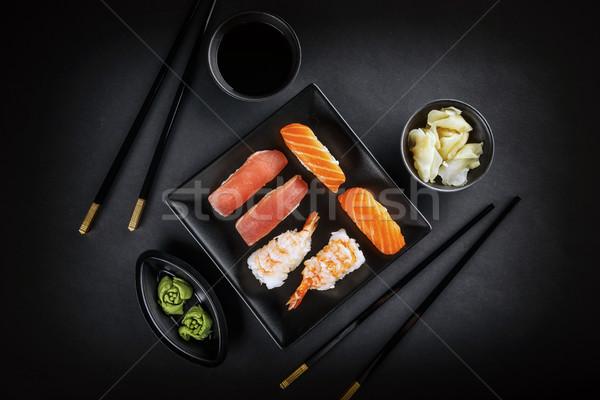 Sashimi sushi somon ton balığı hizmet Stok fotoğraf © grafvision
