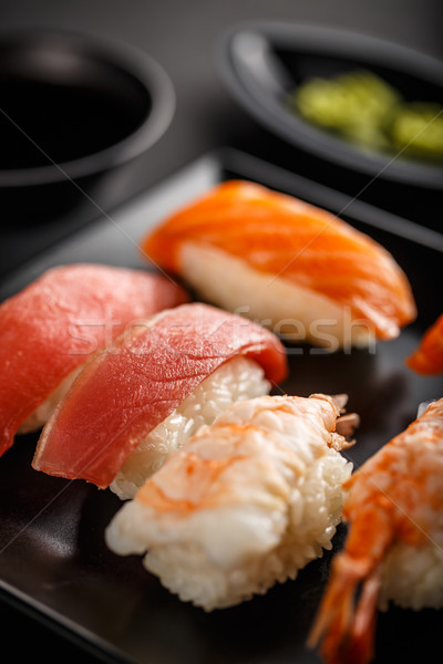 Sashimi sushis noir plaque Photo stock © grafvision