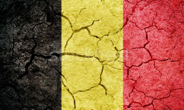 Krallık Belçika bayrak kuru toprak zemin Stok fotoğraf © grafvision