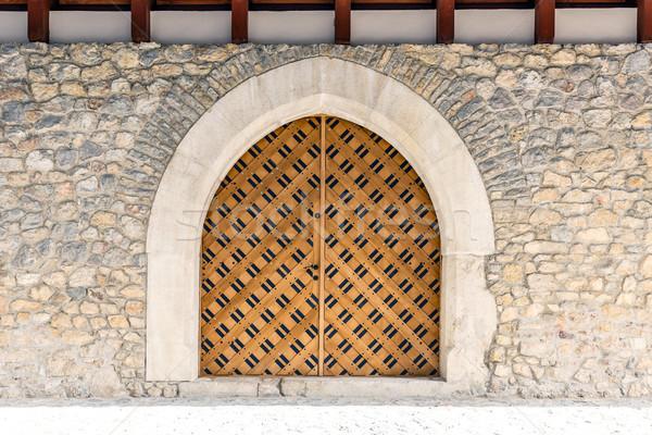 アーチ 木製 ドア 石の壁 テクスチャ 建物 ストックフォト © grafvision
