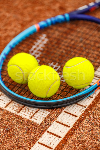 Tennis racket and balls Stock photo © grafvision