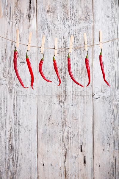 Stockfoto: Paprika · in · afwachting · van · Rood · hot · ruimte · groep