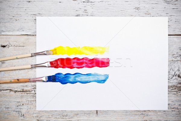 Brush strokes with paint brushes Stock photo © grafvision