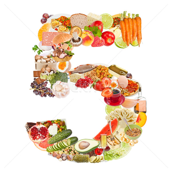 Number 5 made of food Stock photo © grafvision