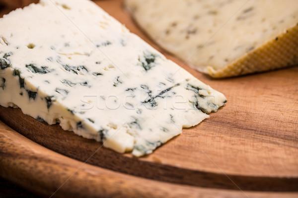 ブルーチーズ 木板 食品 背景 木製 三角形 ストックフォト © grafvision