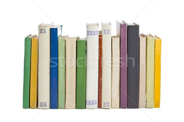 Stockfoto: Oude · boeken · rij · alle · leder · lezing