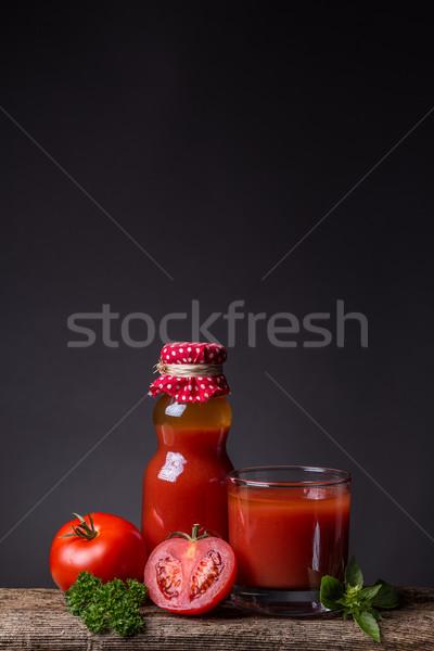 Paradicsomlé klasszikus fa deszka étel ital üveg Stock fotó © grafvision