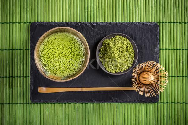 Foto stock: Té · verde · japonés · tradicional · té · establecer · fondo