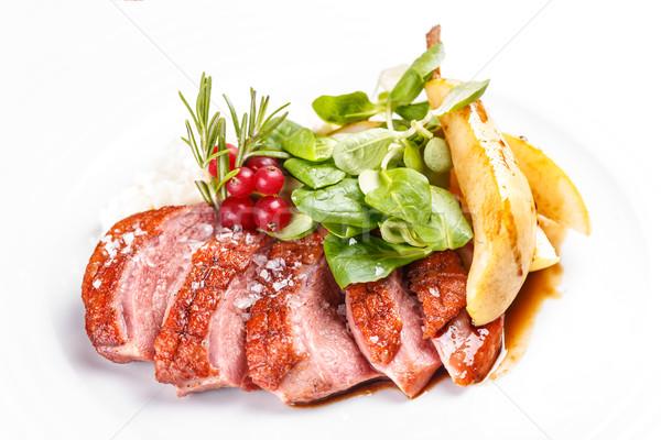 Liba mell fehér tányér étterem vacsora Stock fotó © grafvision
