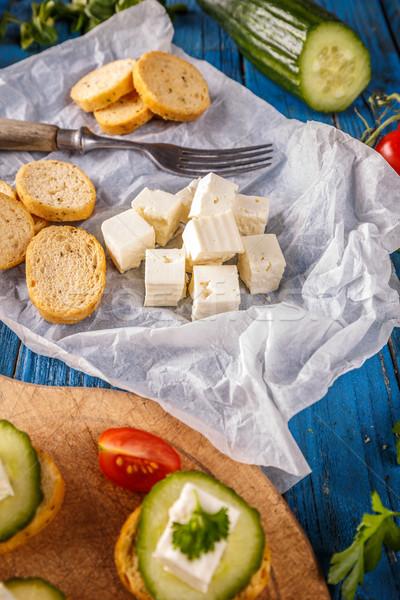 Brood geroosterd kubus blad ontbijt Stockfoto © grafvision