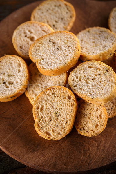 Hoop klein rustiek houten plaat brood Stockfoto © grafvision