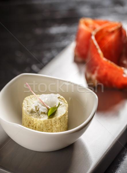 Vaj prosciutto felszolgált étterem asztal reggeli Stock fotó © grafvision