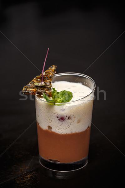 Mleka mus czekoladowy Kokosowe bita śmietana szkła czekolady Zdjęcia stock © grafvision
