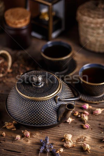 Hierro fundido tetera hierro aumentó edad Foto stock © grafvision
