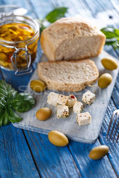 フェタチーズ キューブ スパイス オリーブ 種子 青 ストックフォト © grafvision