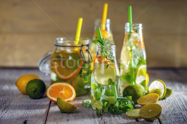 Limonádé friss citrom fából készült gyümölcs üveg Stock fotó © grafvision