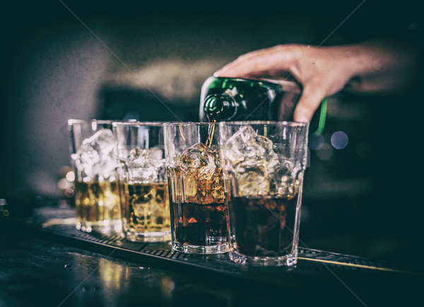 Bartender making cocktail Stock photo © grafvision