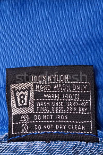 Ruházat címke esőkabát mosás utasítás címke Stock fotó © grafvision