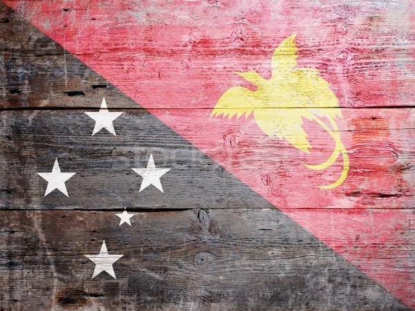 флаг Папуа-Новая Гвинея окрашенный древесины доска Сток-фото © grafvision