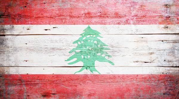 Zászló Libanon festett koszos fa palánk Stock fotó © grafvision