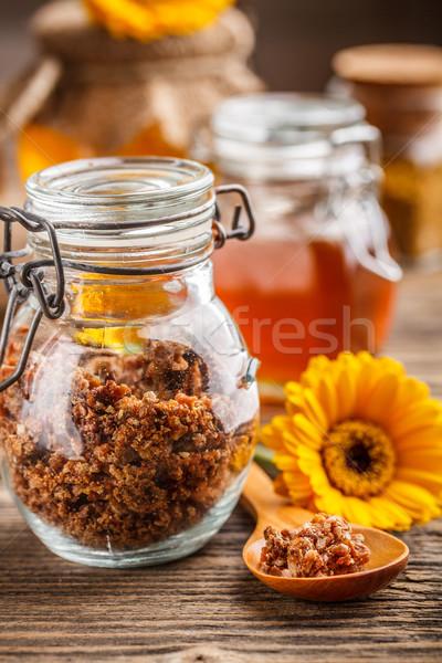 Propolis glas jar honing bloem bee Stockfoto © grafvision