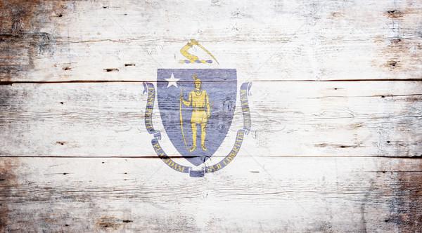 Bayrak Massachusetts boyalı ahşap doku Stok fotoğraf © grafvision