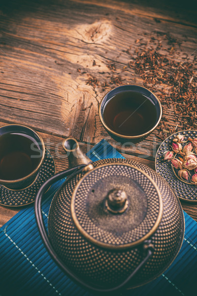 Asian cast iron tea set Stock photo © grafvision