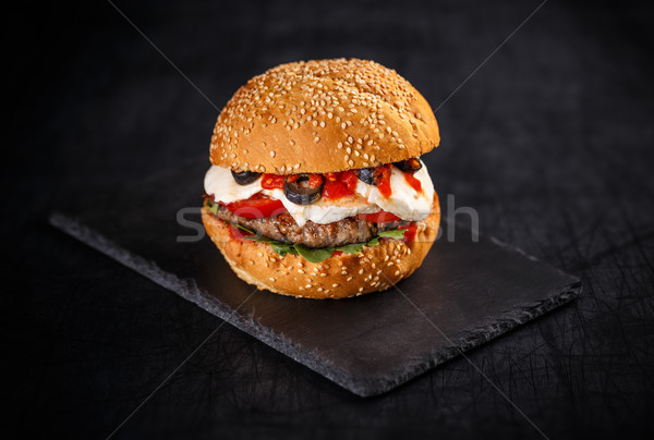 Tasty burger with beef patty Stock photo © grafvision