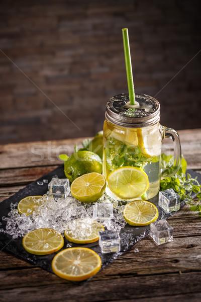 Hideg limonádé menta levél üveg bögre Stock fotó © grafvision