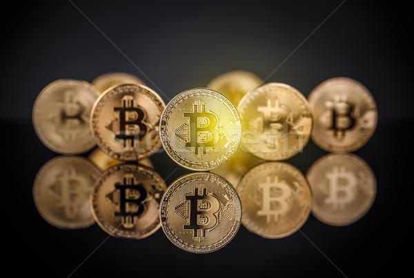 Many gold bitcoins Stock photo © grafvision
