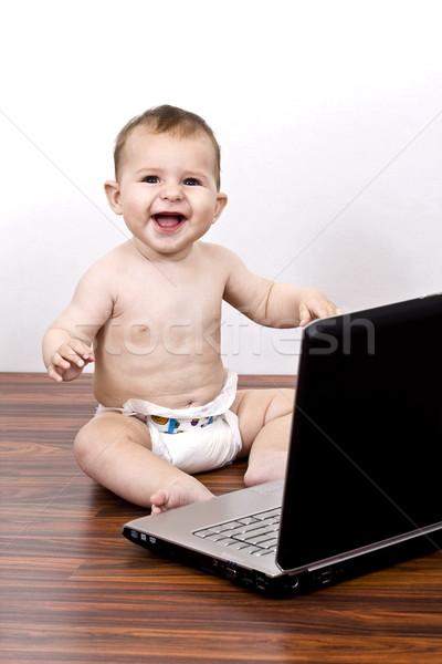 Bebek oynama çok güzel dizüstü bilgisayar Stok fotoğraf © grafvision