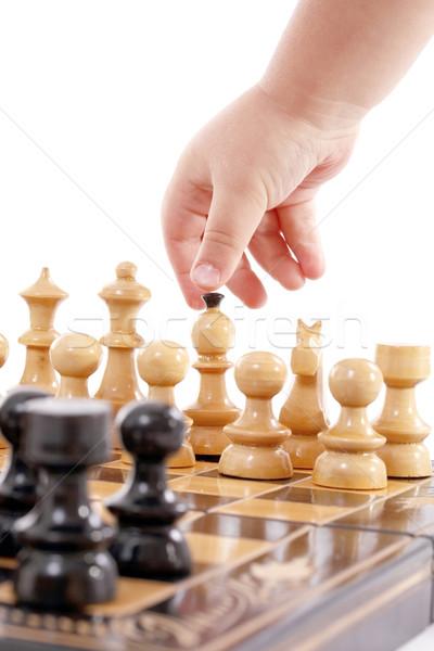 Ninos jugando ajedrez mano aislado blanco Foto stock © grafvision
