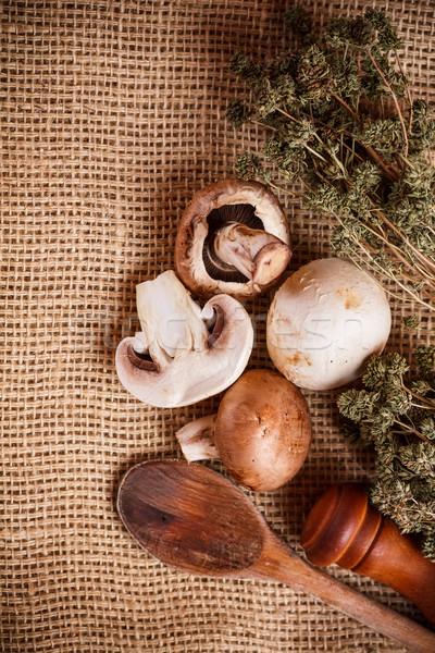 Raw champignon Stock photo © grafvision