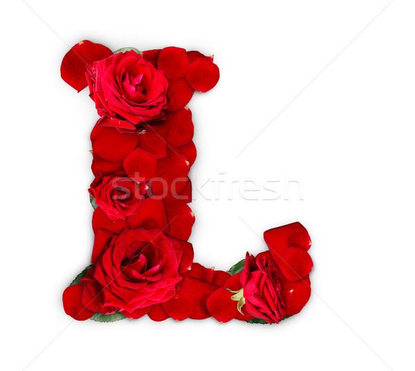 Letter l rode rozen bloemblaadjes geïsoleerd witte bloem Stockfoto © grafvision