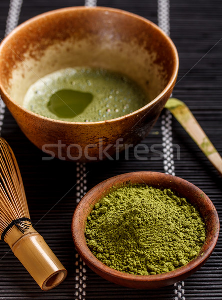 Tè ceramica ciotola sfondo verde relax Foto d'archivio © grafvision