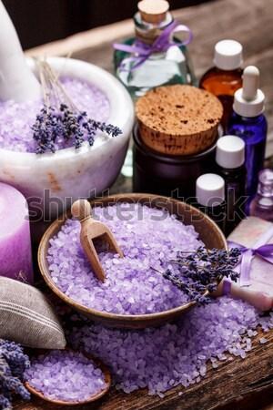 Levendula fürdősó szett tál izolált fehér Stock fotó © grafvision
