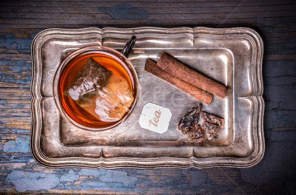 Кубок чай сумку металл лоток Сток-фото © grafvision
