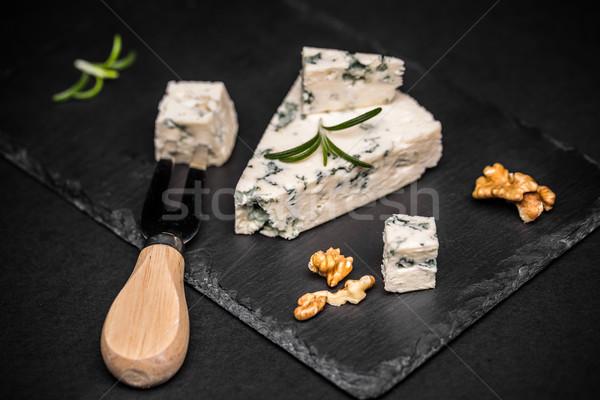 ブルーチーズ スライス 黒 背景 青 チーズ ストックフォト © grafvision