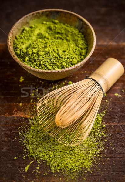 Matcha and bamboo whisk Stock photo © grafvision