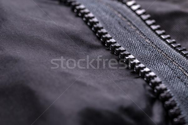 Ruhadarab kabát cipzár közelkép lövés Stock fotó © grafvision