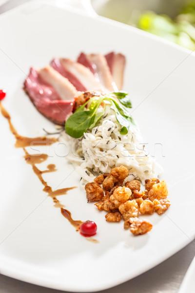 Füstölt liba mell fekete retek saláta Stock fotó © grafvision