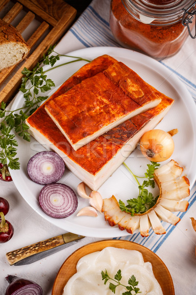 Egész szelet kövér szalonna piros paprika por Stock fotó © grafvision