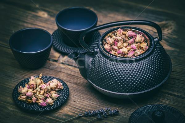 Teáskanna agyag tálak ázsiai ital fekete Stock fotó © grafvision