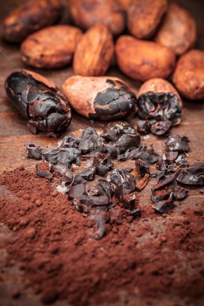 Kakao eski ahşap gıda arka plan cips Stok fotoğraf © grafvision
