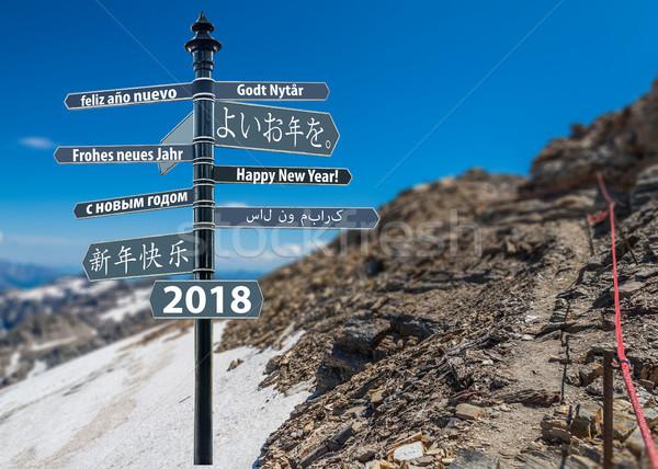 Tabelasını happy new year çok dağ imzalamak Stok fotoğraf © grafvision
