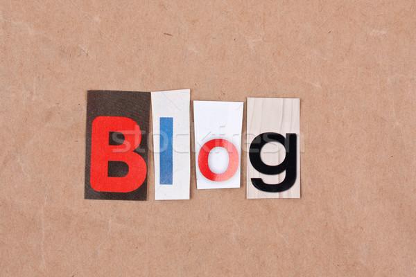 Blog levelek felirat levél dugó szöveg Stock fotó © grafvision