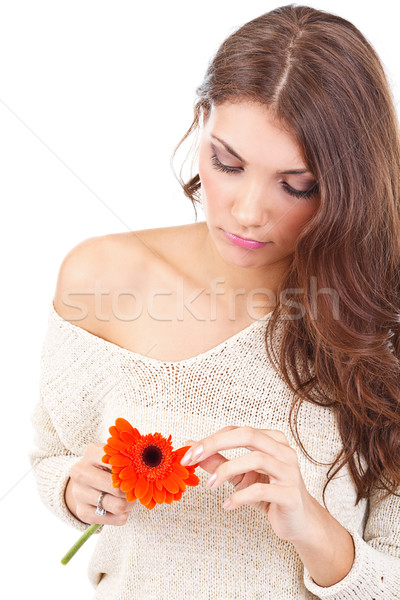 Woman tearing flower petal  Stock photo © grafvision