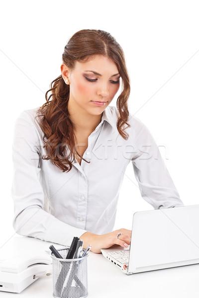 Сток-фото: женщину · ноутбук · молодые · деловой · женщины · служба · бизнеса
