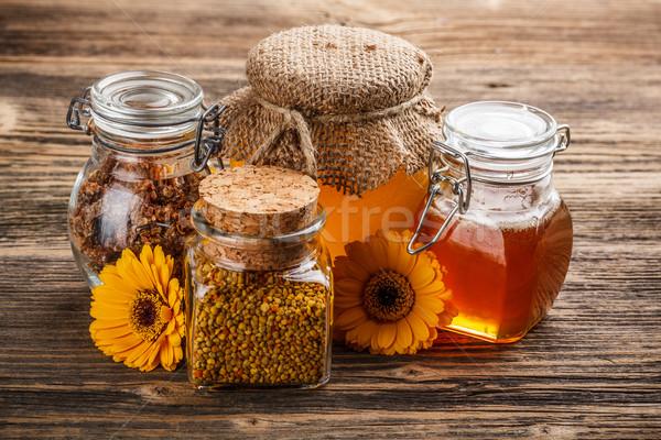 Honing stilleven propolis stuifmeel voedsel natuur Stockfoto © grafvision