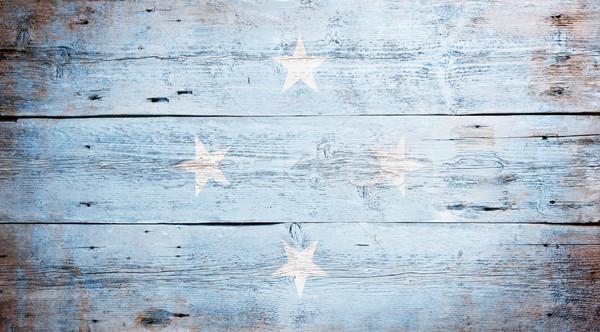 Bandeira Micronésia pintado sujo madeira Foto stock © grafvision